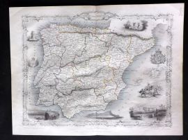 Tallis & Rapkin 1854 Antique Map. Spain and Portugal